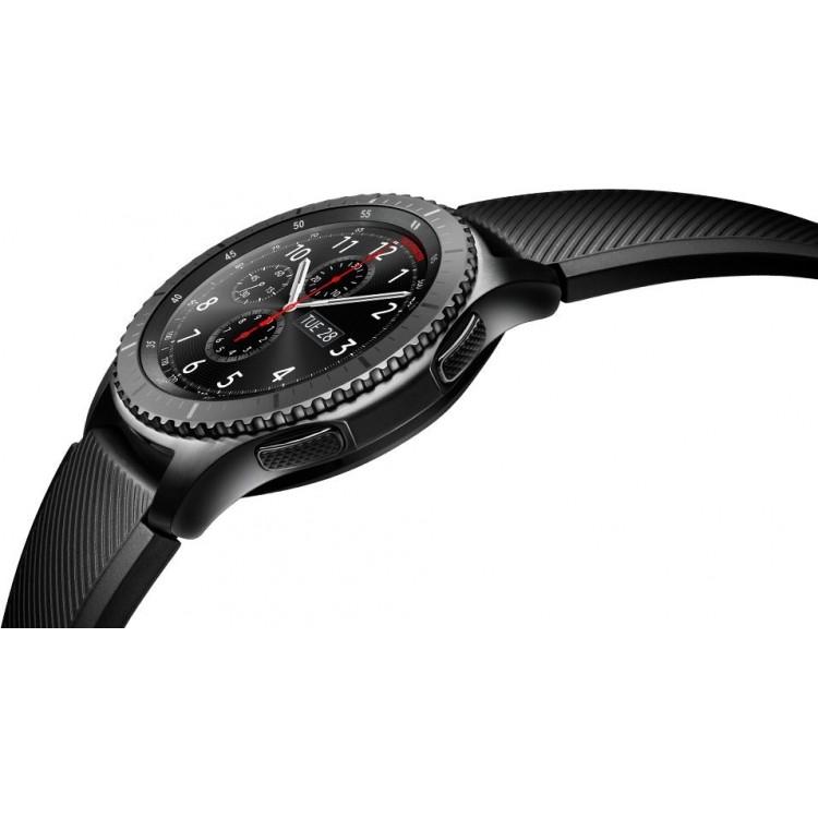 dfe11f357 سامسونج جير اس3 فرونتير ساعة ذكية - رمادي غامق، SM-R760