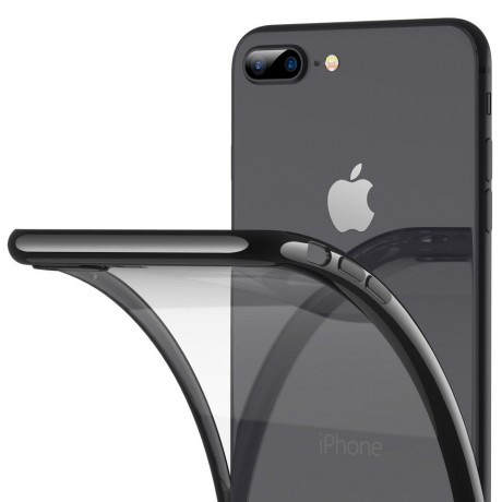 iPhone 8 Plus Case, iPhone 7 Plus Case, RANVOO Ultra Slim Thin Clear Case with Premium Flexible Bumper and Transparent TPU Back Plate Protective Cover for iPhone 8 Plus/7 Plus (Jet Black)