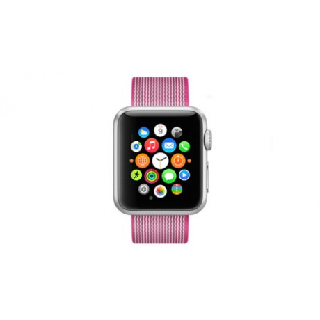 Apple Watch Sport - 38mm Silver Aluminum Case with Pink Woven Nylon Band, MMF32