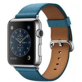 ساعة ابل الرياضية - هيكل فضي من الستانلس ستيل بقياس 42 ملم مع سوار ازرق كلاسيكي من الجلد مع مشبك، MMFU2