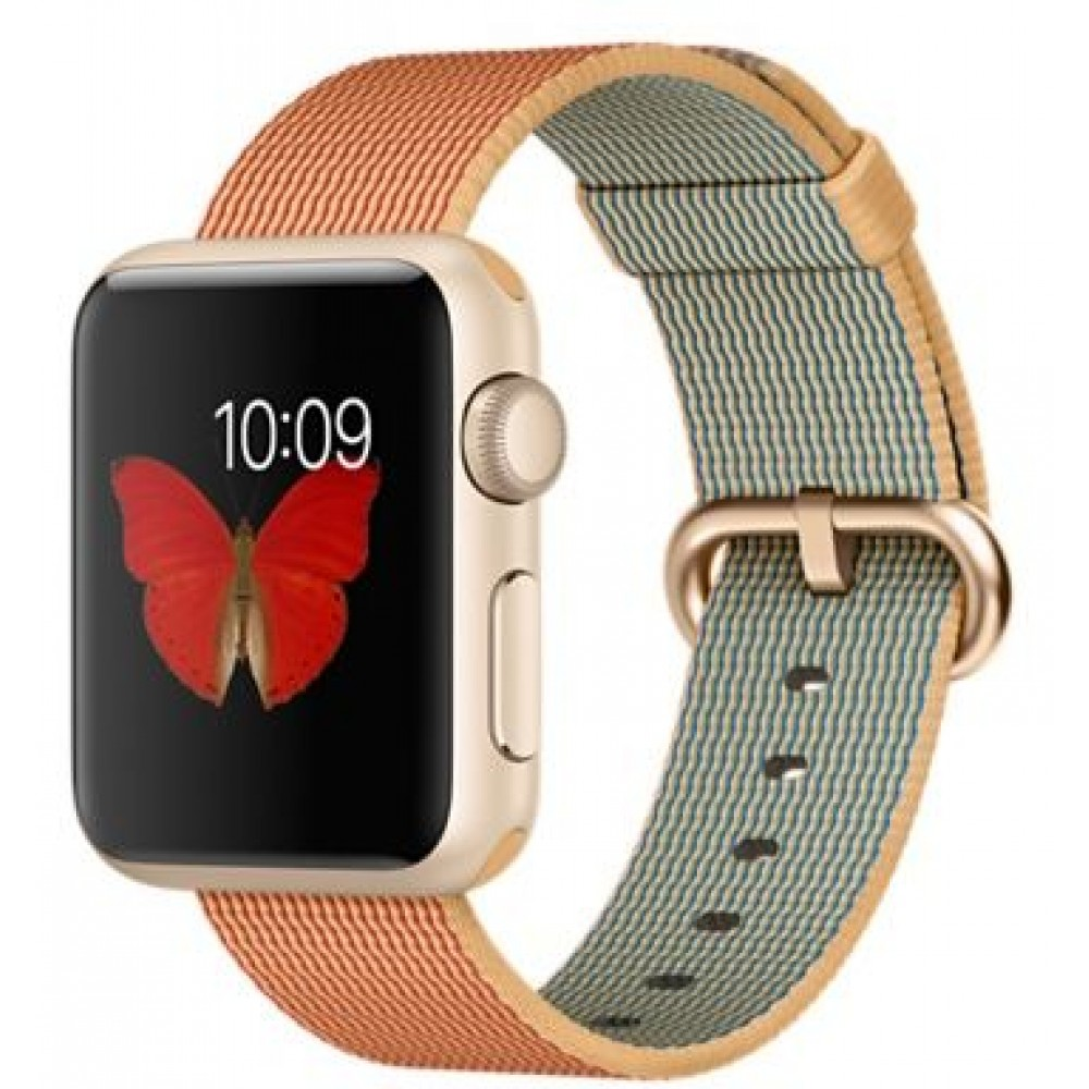 Apple Watch Sport - 38mm Gold Aluminum Case with Gold/Red Woven Nylon Band, MMF52
