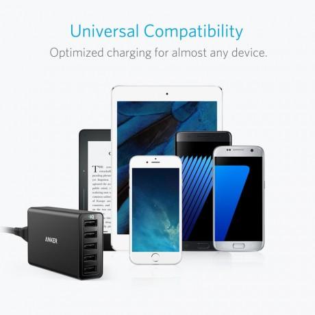 Anker A2124K12 PowerPort 40W PowerIQ 5 Port USB Charger Black