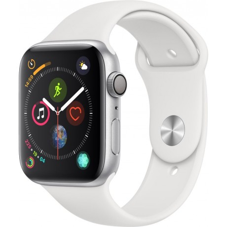 Apple Watch Series 4 - 44mm Space Silver Aluminum Case with White Sport Band, GPS, watchOS 5