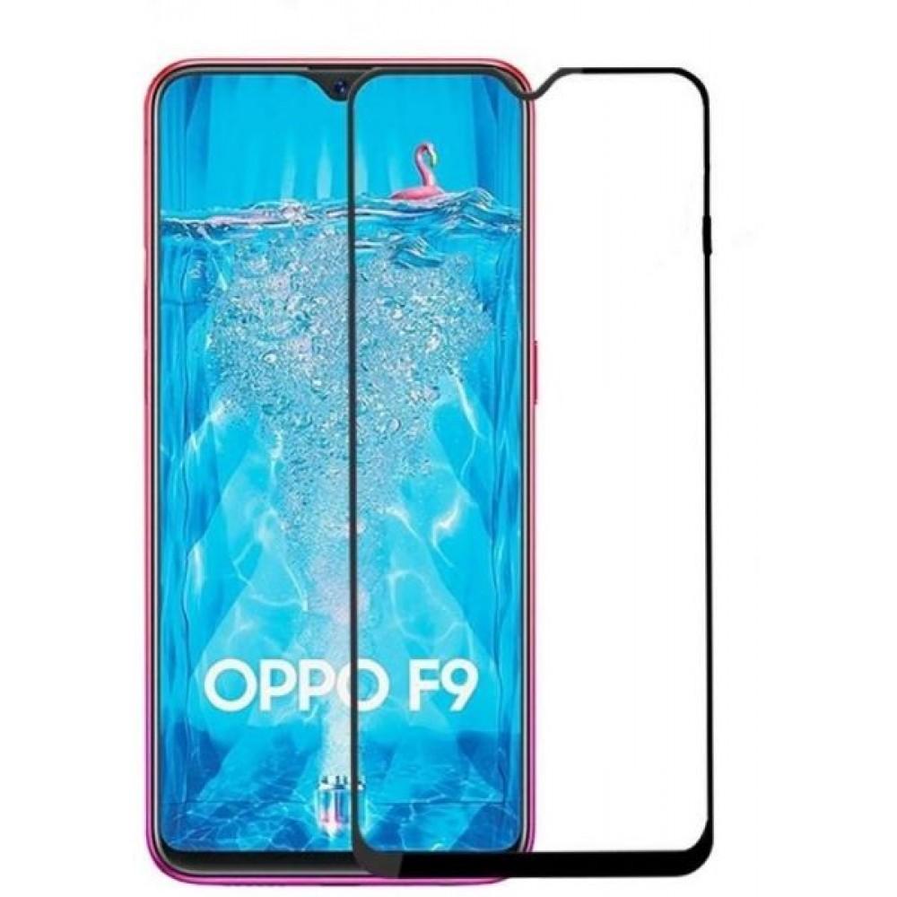 OPPO F9 Full Glue 5D Glass Screen Protector (Full Coverage - Full Glue) , Black