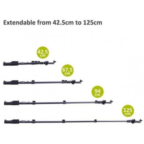 Yunteng YT-1288 - Extendable Selfie Stick Monopod with Shutter Remote Control - Black