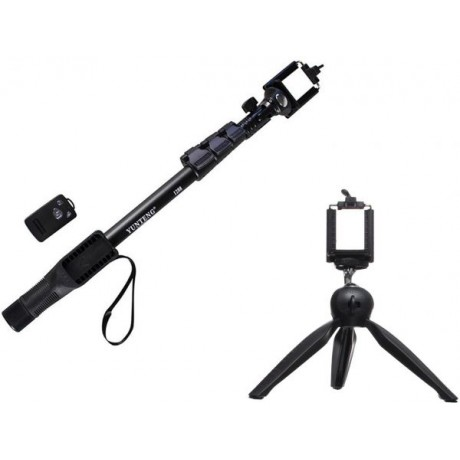 Yunteng YT-228 Selfie Stand - Black with Universal Selfie Stick - YT 1288