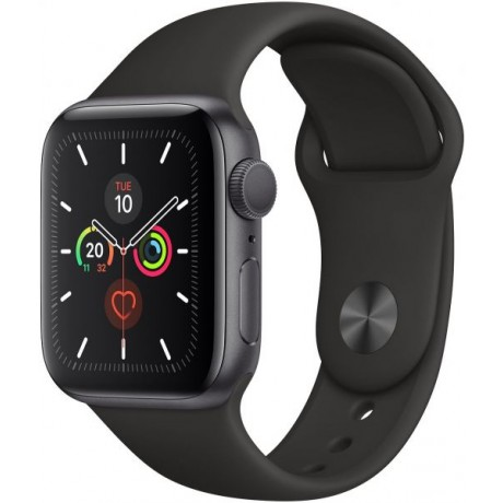 Apple Watch Series 5 - 40mm Space Grey Aluminium Case with Black Sport Band, GPS, watchOS 6, MWV82AE/A