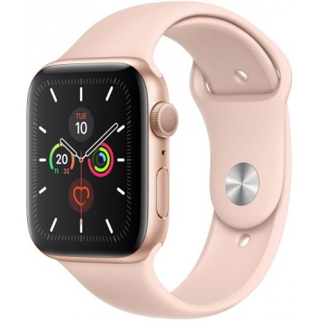 Apple Watch Series 5 - 44mm Gold Aluminium Case with Pink Sand Sport Band - S/M & M/L, GPS, watchOS 6, MWVE2LL/A