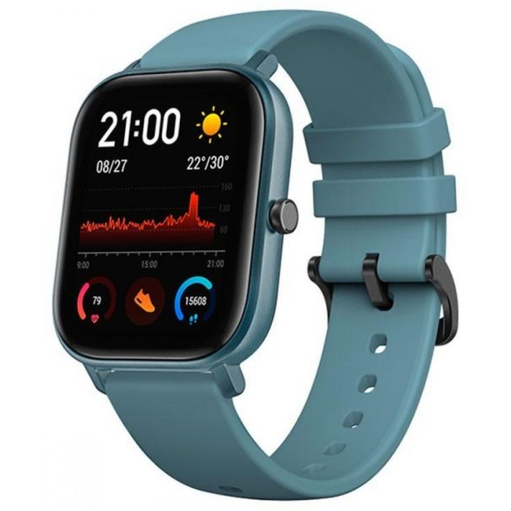 xiaomi Amazfit GTS Global Version Smart Watch 5ATM Waterproof Heart Rate 14 Day Battery GPS Music Control Call Message Remind Retina Screen (Steel Blue)