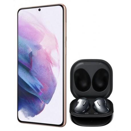 Samsung Galaxy S21 Plus Dual SIM Mobile - 6.7 Inches, 256 GB, 8 GB RAM, 5G - Violet with Samsung Galaxy Buds Live Headphones