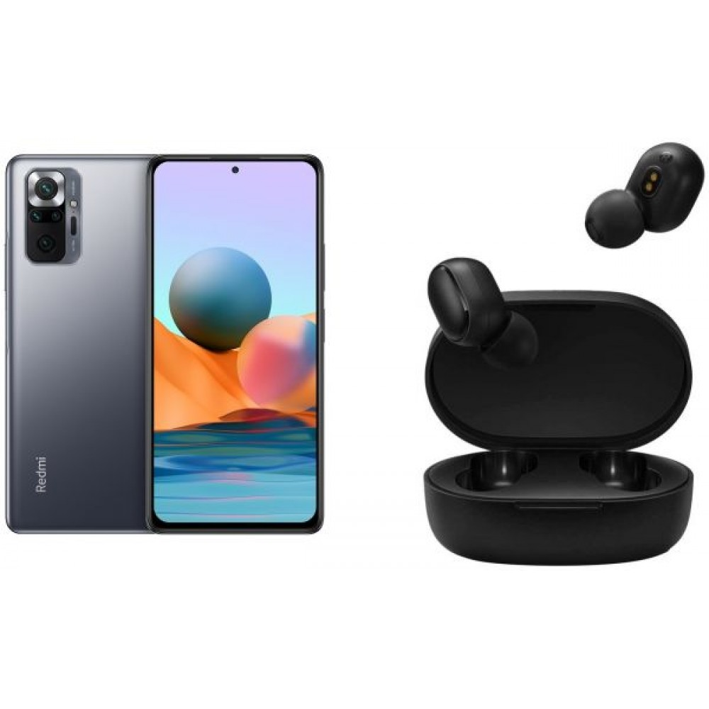 Xiaomi Redmi Note 10 Pro Dual SIM Mobile - 6.67 Inches, 6G RAM, 128 GB, 4G LTE - Onyx Gray with Xiaomi Mi True Wireless EaRBuds Basic 2 - Black