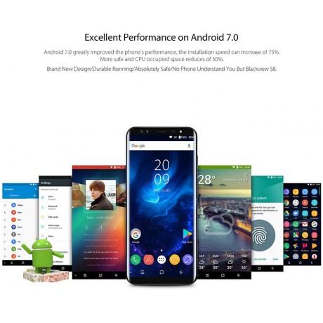 Blackview S8 Four Cameras 4G RAM 64G ROM 5.7-inch MT6750T Eight-core 4G LTE Fingerprint OTG Blue Smartphone