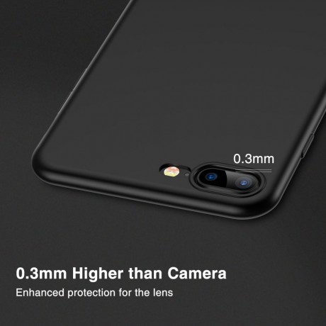 iPhone 8 Plus Case, iPhone 7 Plus Case, RANVOO Soft TPU Case Ultra Thin Slim Fit Anti-fingerprint Rubber Cover [Support Wireless Charging] for iPhone 8/7 Plus 5.5 Inch, Matte Black