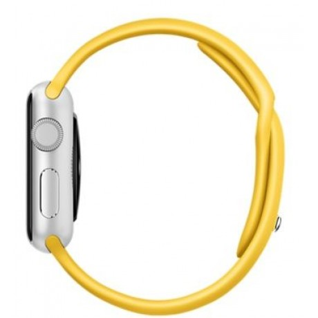 Apple Watch Sport - 38mm Silver Aluminum Case with Yellow Sport Band, MMF02