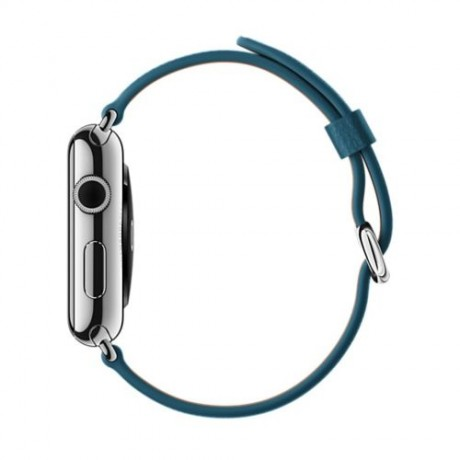Apple Watch - 42mm Stainless Steel Case with Marine Blue Classic Buckle Leather Band, MMFU2