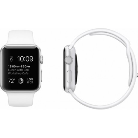 Apple Watch - 42mm Stainless Steel Case with White Sport Band, MJ3V2