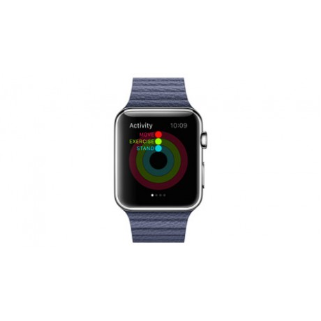 Apple Watch - 42mm Stainless Steel Case with Bright Blue Leather Loop Band, MJ462