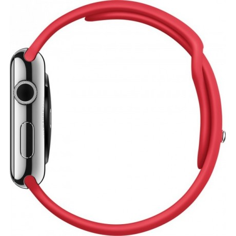 Apple Watch - 42mm Stainless Steel Case with Red Sport Band, WatchOS 2, MLLE2