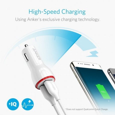Anker car charger high speed,powerdrive 2 two port car charger with micro usb and anker cable,white colour,guarantee 2 years