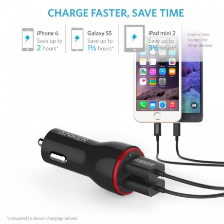 Anker car charger high speed,powerdrive 2 two port car charger with micro usb and anker cable,Black colour,guarantee 2 years