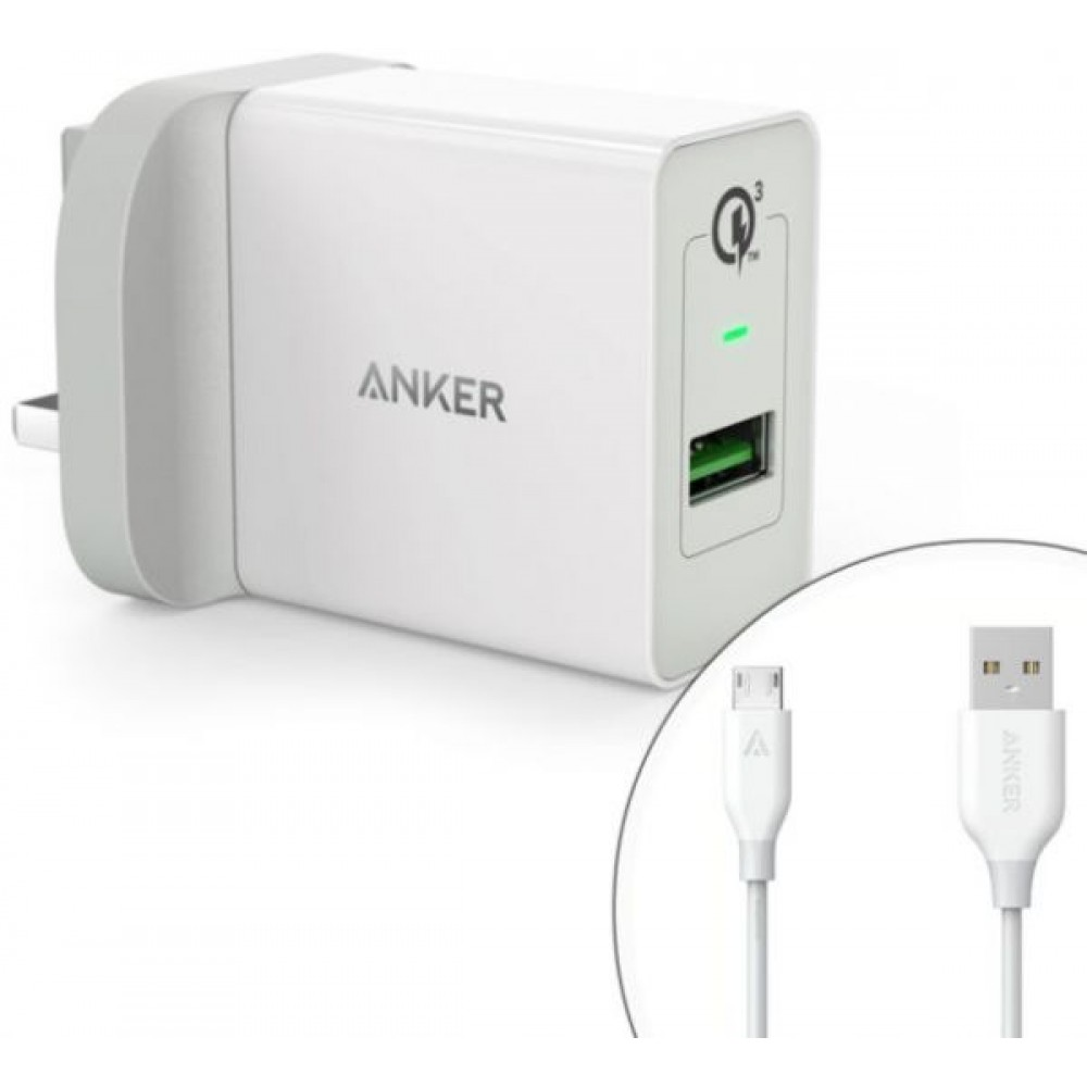 Anker PowerPort QC3 PowerIQ Single USB Port Wall Charger with Micro USB Cable White,B2013K21,Orginal Product