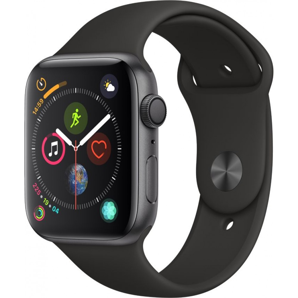 Apple Watch Series 4 , 40mm Space, Gray Aluminum, Case with Black, Sport Band, GPS, watch OS  5