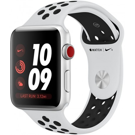 Apple Watch Nike+ Series 3 , 42mm ,Silver,Aluminum Case ,with Pure Platinum/Black ,Nike Sport Band, GPS ,+ Cellular, watchOS 4, MQLC2