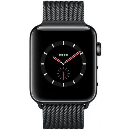 Apple Watch Series 3, 42mm ,Space Black ,Stainless Steel Case ,with Space Black Milanese Loop, GPS+Cellular, watchOS 4, MR1L2