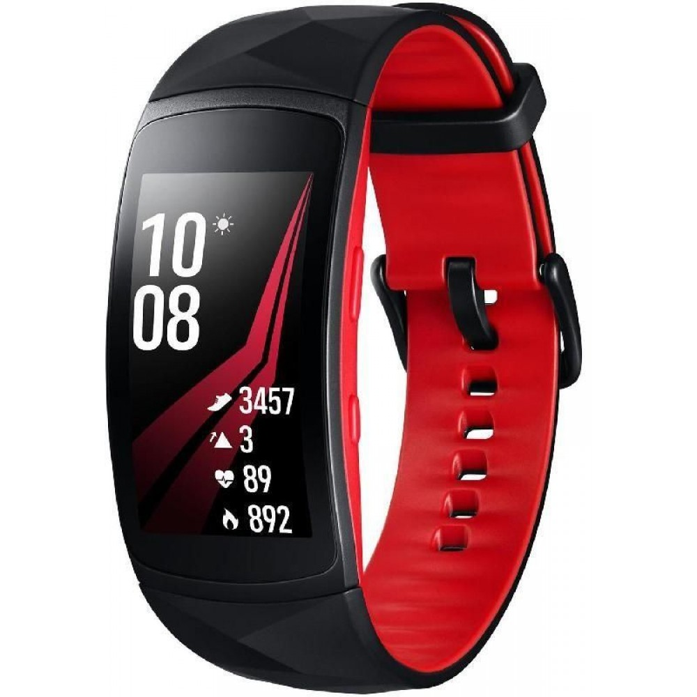 Samsung Gear Fit2 Pro, Fitness Band (Large Strap), Smartphone Fitness Accessory, Universal, for Most Smartphones with Android OS/iOS, Red