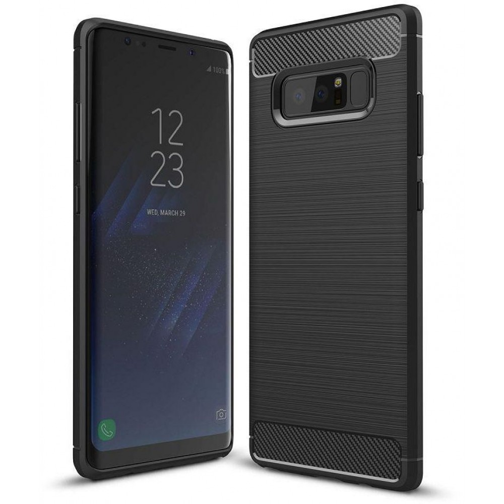 Samsung Galaxy Note 8 Carbon Fiber Brushed Metal ,Anti-Drop Shockproof, Soft TPU ,Back Cover Case - Black
