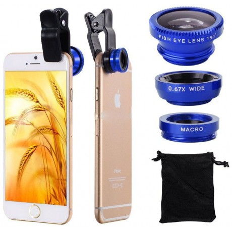 3-in-1 Universal Clip Lens ,for Mobile Phones ,and Tablet ,PCs,Fish Eye, Micro, Wide Angle-Blue