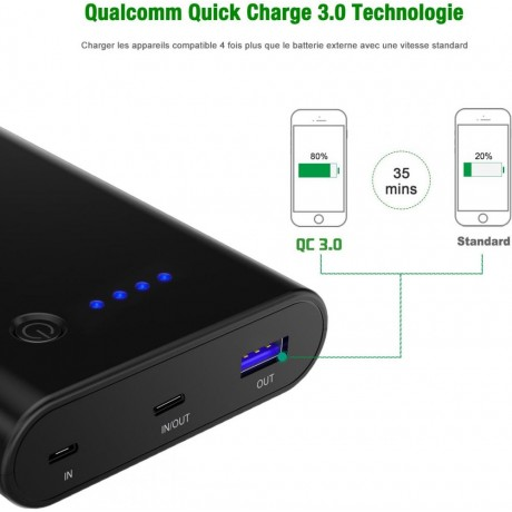 CHOETECH 10400mAh Portable Charger ,with Dual QC 3.0 Input ,(USB C,Micro-USB), Power Bank