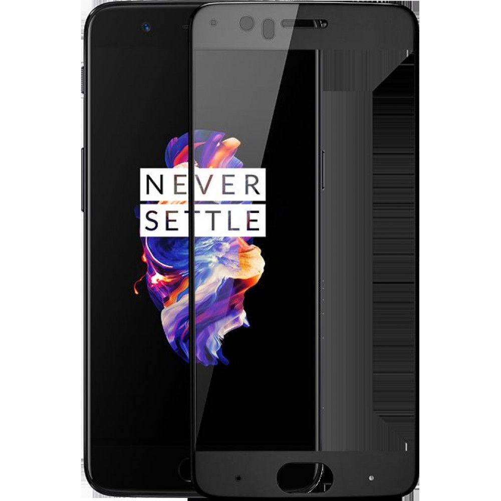 OnePlus 5, Full Coverage 3D Tempered Glass Curved Screen Protector ,Black